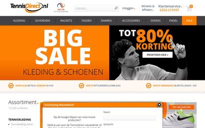 Tennis Direct website