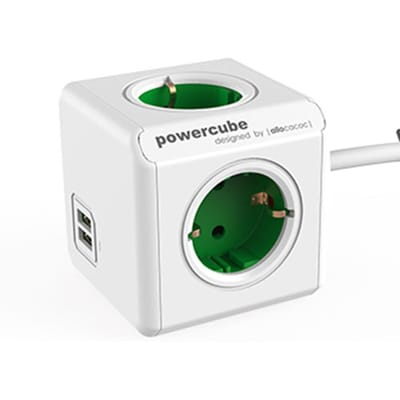 Allocacoc Power Cube Extended kabel USB Groen