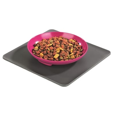 Yummynator voerbak met placemat roze / grijs