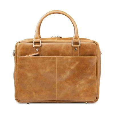 Leather bag Rosenborg golden tan for up to 14