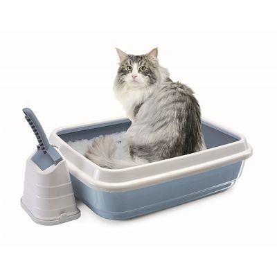 Imac kattenbak duo met kattenbakschep romeo blauw / wit
