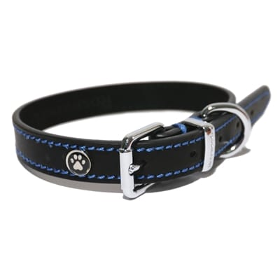 Luxury Leather Halsband Hond Zwart CM 66 x