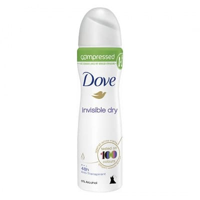Deodorant spray compressed invisible dry