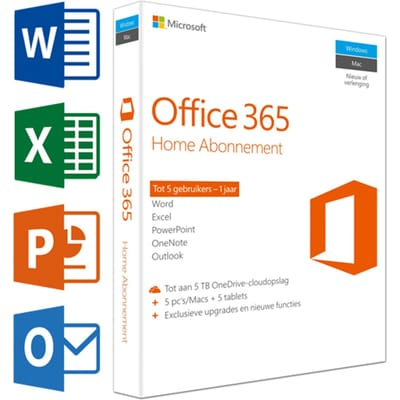 Microsoft Office 365 Home 1 Jaar Abonnement