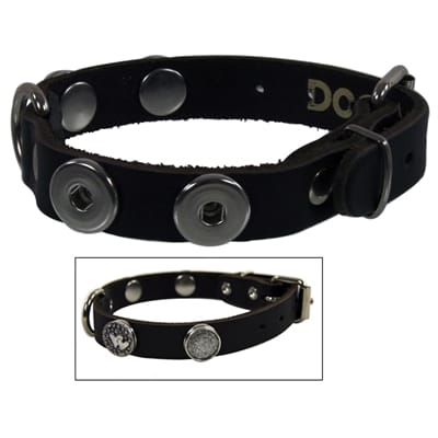 Halsband voor hond leer buttons zwart 40 Art cm