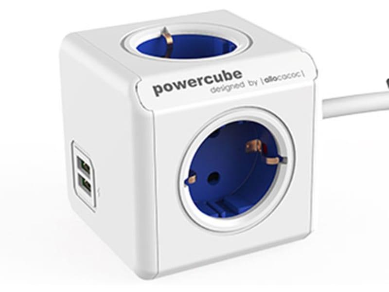 Allocacoc PowerCube Extended kabel blauw USB