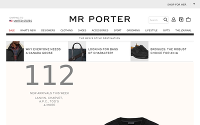Mr Porter website