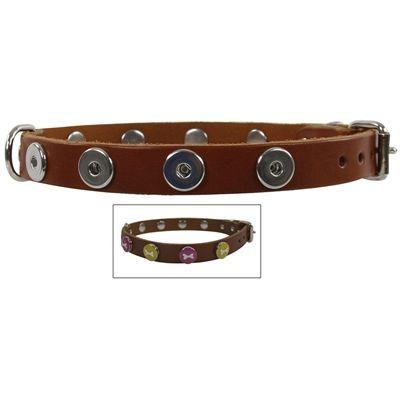 halsband voor hond leer buttons 60 cm