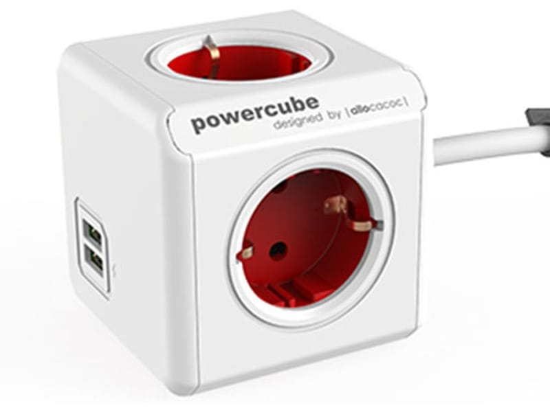 Allocacoc PowerCube Extended kabel rood USB