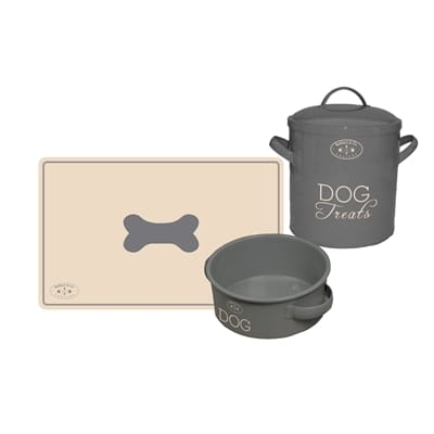 Banbury co giftset hond placemat voerbak voorraadpot tin