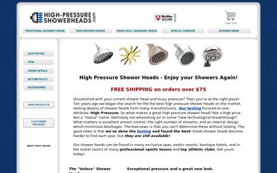 Highpressureshowerheads.com website