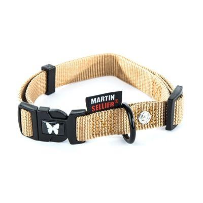 Martin sellier halsband nylon beige verstelbaar cm