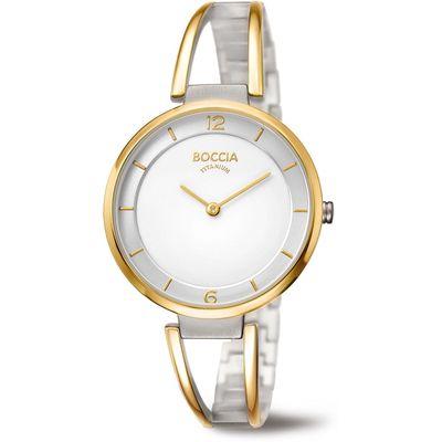 Boccia 3260-02 horloge dames - zilver en goud - titanium