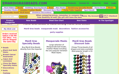 Mardi Gras Supplies - Emardigrasbeads.com website