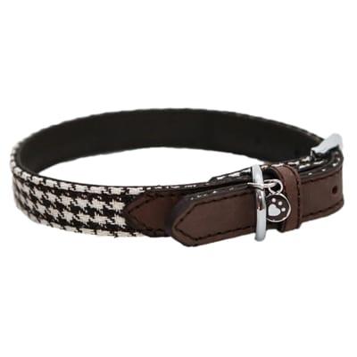 Wag walk halsband hond houndstooth bruin wit cm 41 51