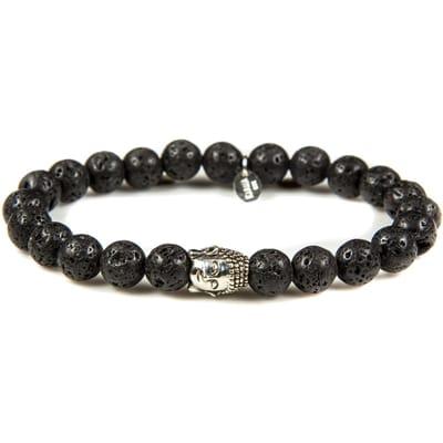 Karma Armband Black Rocks silver Buddha 86122