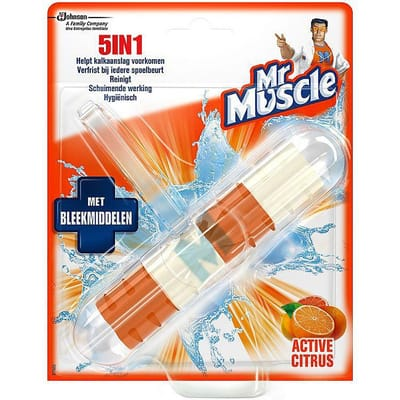 Mr.muscle - 5 In 1 Toiletblok Active Citrus Bleek