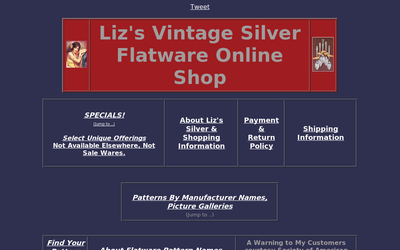 Liz's Vintage Silver Flatware Online Shop website