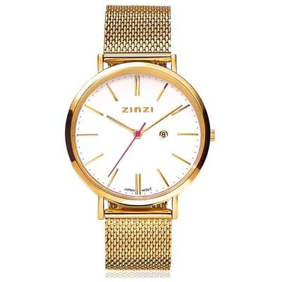 Zinzi Horloge Retro goudkleurig 38 mm gratis armband ZIW407M