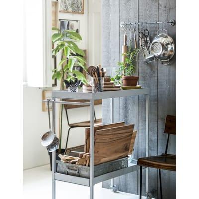 Tea trolley Stack-it low metaal betongrijs