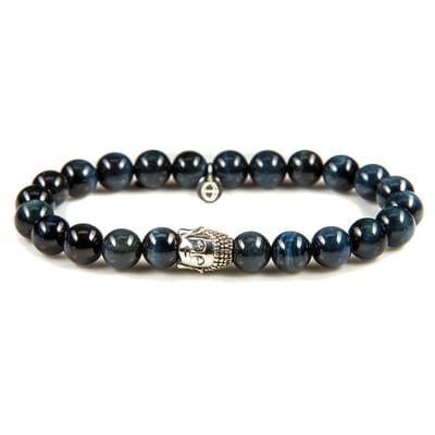 Karma Armband Blue Tigereye silver Buddha 86110