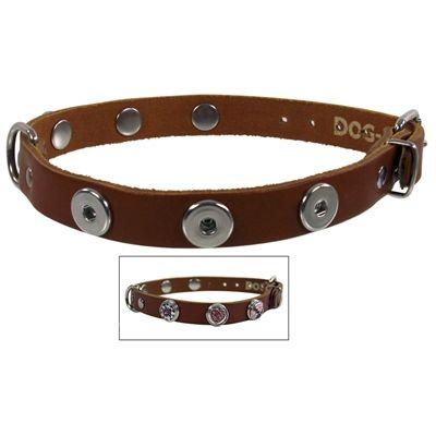 Halsband voor hond leer buttons 50 cm